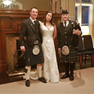 Wedding, Bagpipes. Bridgend,