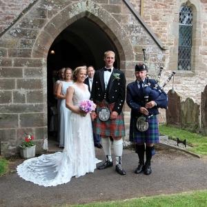 Ashperton-Herefordshire, Wedding, Bagpipes,