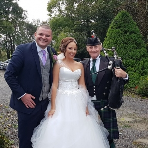 Wedding, Bagpipes, Llechwen-Hall,