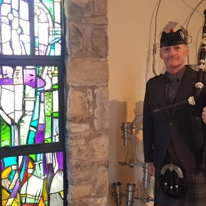 Bagpipes, Funeral, Coychurch-Crematorium,