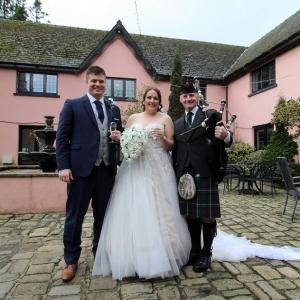 Wedding-Bagpipes, Cwrt-Bleddyn, Kyle-Shaniece,