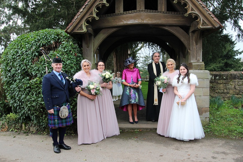 Wedding-Bagpipes, Mathern-Monmouthshire,