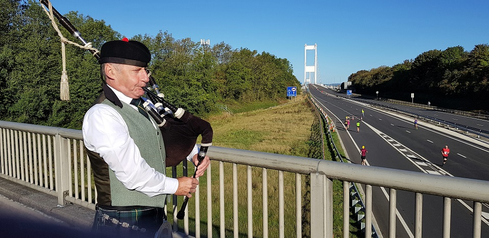 Severn-Bridge-10K, Time-Trial, with-Bagpipes, 30th Aug, 2020.